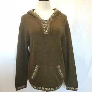 The Alpaca Connection Green Alpaca Hooded Sweater